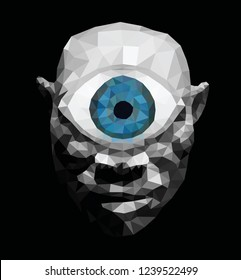 A blue eye Cyclops monster, low poly vector illustration.