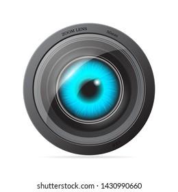 Blue eye inside the camera lens.