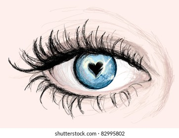 Blue EYE with pupil like Heart / Vector Sketch
