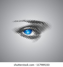 blue eye stock vector with halftone