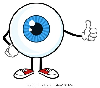 Blue Eyeball Guy Cartoon Mascot Character Giving A Thumb Up. Vector Illustration Isolated On White Background
