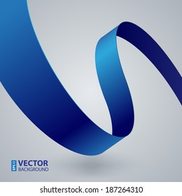 Blue fabric curved ribbon on grey background. RGB EPS 10 vector illustration
