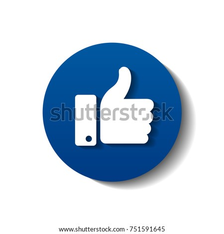 blue facebook thumb symbol like shadow のベクター画像素材