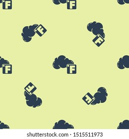 Blue Fahrenheit and cloud icon isolated seamless pattern on yellow background.  Vector Illustration