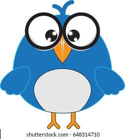 Blue Fat Cartoon Bird