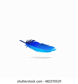 Blue feather isolate, vector illustration.