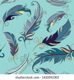 Blue feathers seamless pattern. Vector illustration of feathers on light blue background