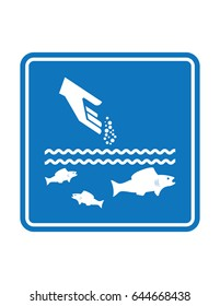 Blue feed fish vector square sign symbol icon pictograph