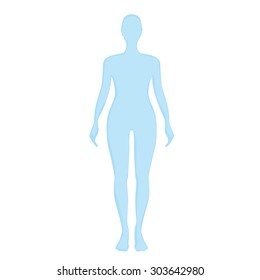 blue female silhouette on a white background. Modern Medical vector infographics. Medic anatomy