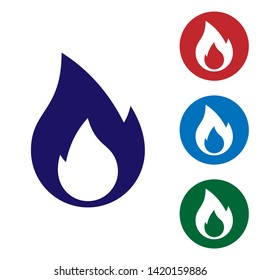 Blue Fire flame icon isolated on white background. Heat symbol. Set color icon in circle buttons. Vector Illustration