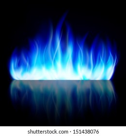 Blue fire flame. Isolated. Background.