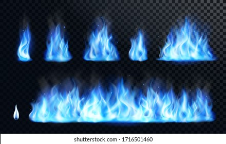 Blue fire flame realistic set. Flare bonfire bright small and big fiery elements, natural gas burning. Vector illustration.