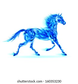 Blue fire horse in motion on white background.