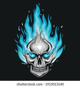 Blue fire skull illustration logo design