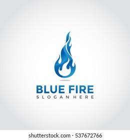 Blue fire theme logotype. Illustrator eps.10