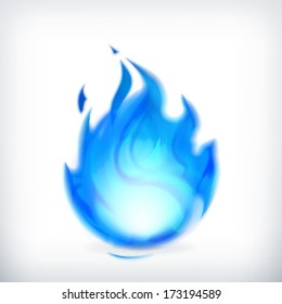 Blue fire, vector icon