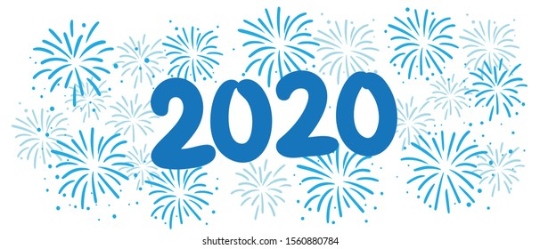 Blue Fireworks 2020 Vector Graphic