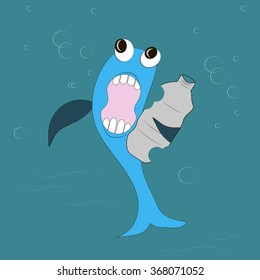 Blue fish with black eyes, dark blue fins, white teeth, pink mouth eats a gray plastic bottle, blue water. Nature pollution, water pollution, trash, vector
