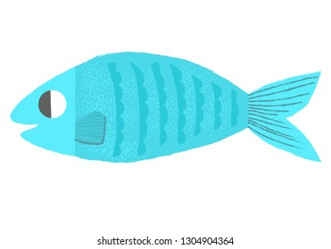 Blue fish icon - vector illustration with texture