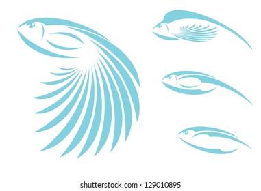 Blue fish icons