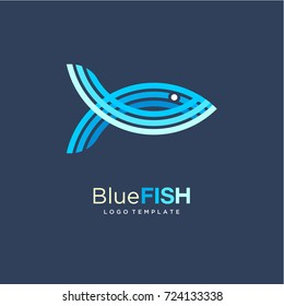 Blue Fish Logo Design template. Creative Abstract Logo Concept. Vector Illustration Eps.10