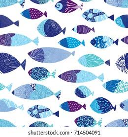 Blue fish. Sea seamless pattern.