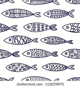 Blue fish. Vector seamless pattern.
