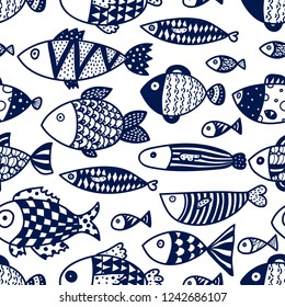 Blue fish. Vector seamless pattern. Seamless pattern can be used for wallpaper, pattern fills, web page background, surface textures.