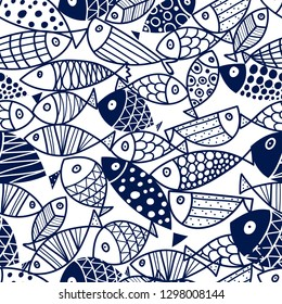 Blue fish Vector seamless pattern.