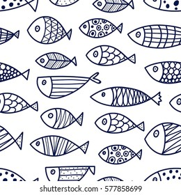 Blue fish. Vector seamless pattern.