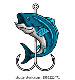 Blue Fish wrapped around hook logo for fly fishing shop and fisherman activity club badge vector illustration design