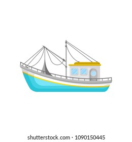 Blue fishing trawler with net and ropes. Water transport. Flat vector icon of boat for commercial fishing concept