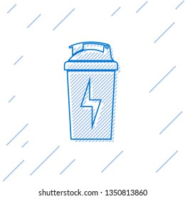 Blue Fitness shaker line icon isolated on white background. Sports shaker bottle with lid for water and protein cocktails. Vector Illustration