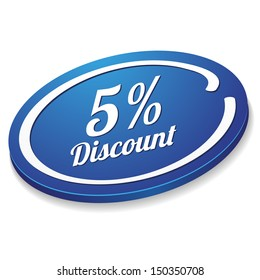 Blue five percent discount button