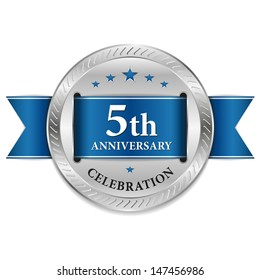 Blue five year anniversary seal