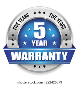 Blue five year warranty badge with metallic border and ribbon