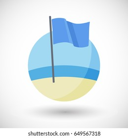 Blue flag icon, Flat design of eco-certification sign on the beach with round shadow, vector illustration
