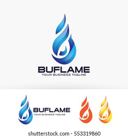 Blue Flame, abstract, symbol, 3d. Vector logo template