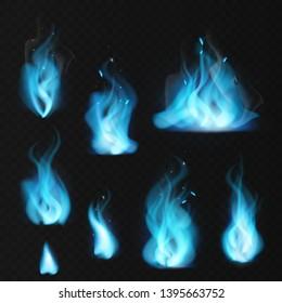 Blue flame. Burning fiery natural gas hot fireplace flames warm fire blazing realistic bonfire effect blue magic flaming vector set