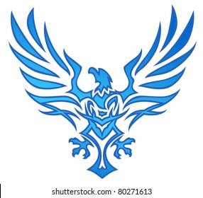 Blue Flame Eagle Tattoo