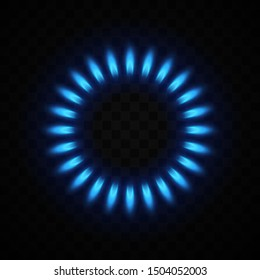 Blue flame of gas on transparent background