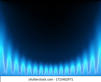 Blue flame isolated on a black background. Stove with burning gas. Vector illustration.