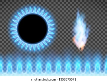 Blue flame isolated on a transparent background. Stove with burning gas. Vector illustration.