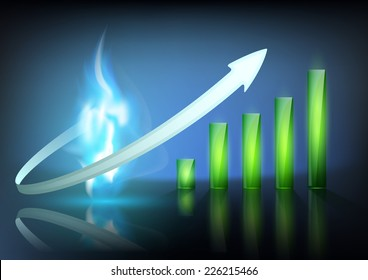 blue flame of natural gas and business graph