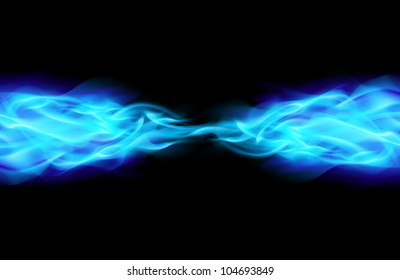 Blue Flame in Space. Illustration on Black