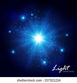 Blue flash shining star. Vector illustration