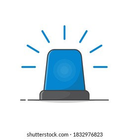 Blue Flasher Siren Vector Icon Illustration. Emergency Siren Flat Icon