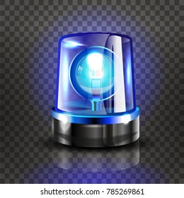 Blue Flasher Siren Vector. Realistic Object. Light Effect. Beacon For Police Cars Ambulance, Fire Trucks. Emergency Flashing Siren. Transparent Background vector Illustration