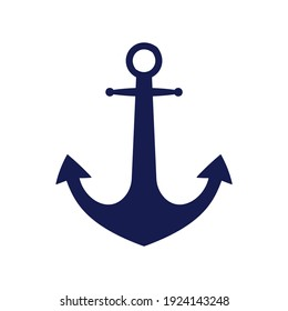 Blue flat anchor logo isolated on white background. Silhouette marine equipment. Vector travel and tourism icon.