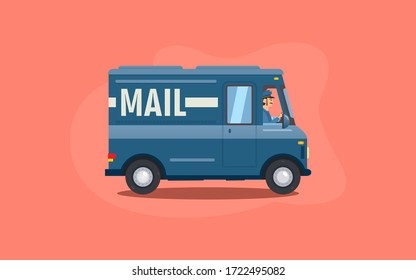 Blue flat cartoon mail or delivery van vehicle with driver or courier on pink background. Express post delivery truck concept. Vector illustration.